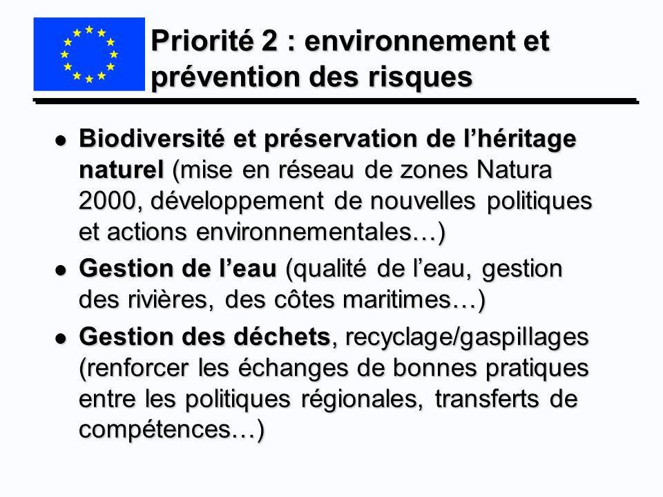 Priorité 2 : environnement et prévention des risques