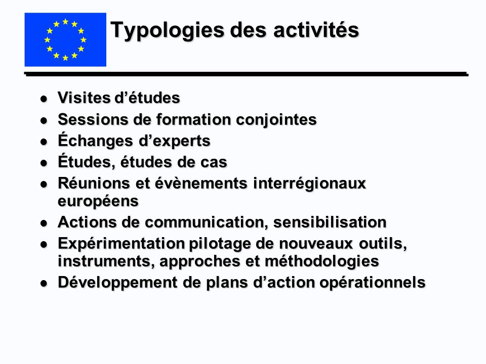 Typologies des activités