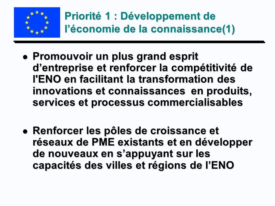 Priorité 1 : Développement de l'économie de la connaissance(1)