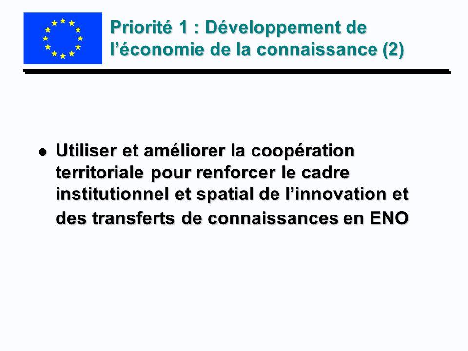 Priorité 1 : Développement de l'économie de la connaissance (2)
