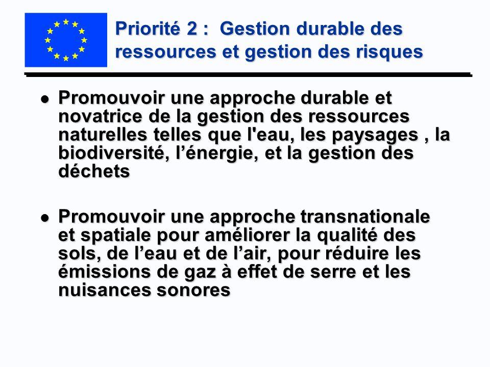Priorité 2 : Gestion durable des ressources et gestion des risques