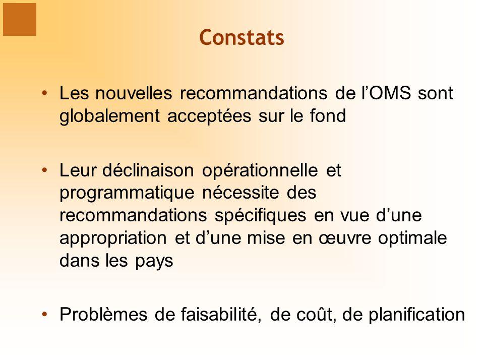 Constats Les nouvelles recommandations de l'OMS sont globalement acceptées sur le fond.