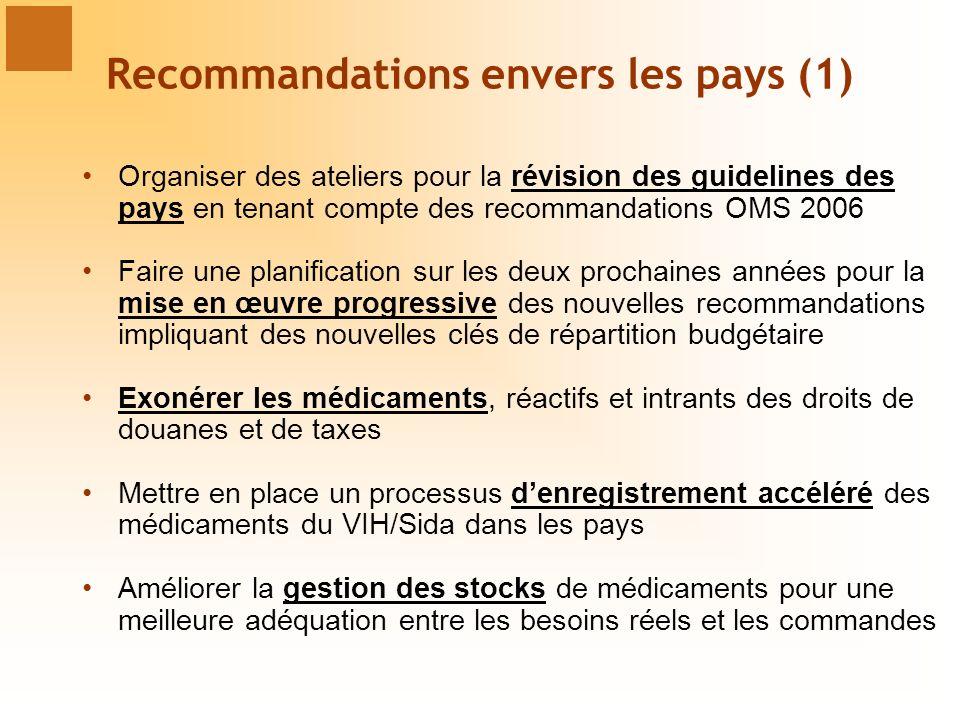 Recommandations envers les pays (1)