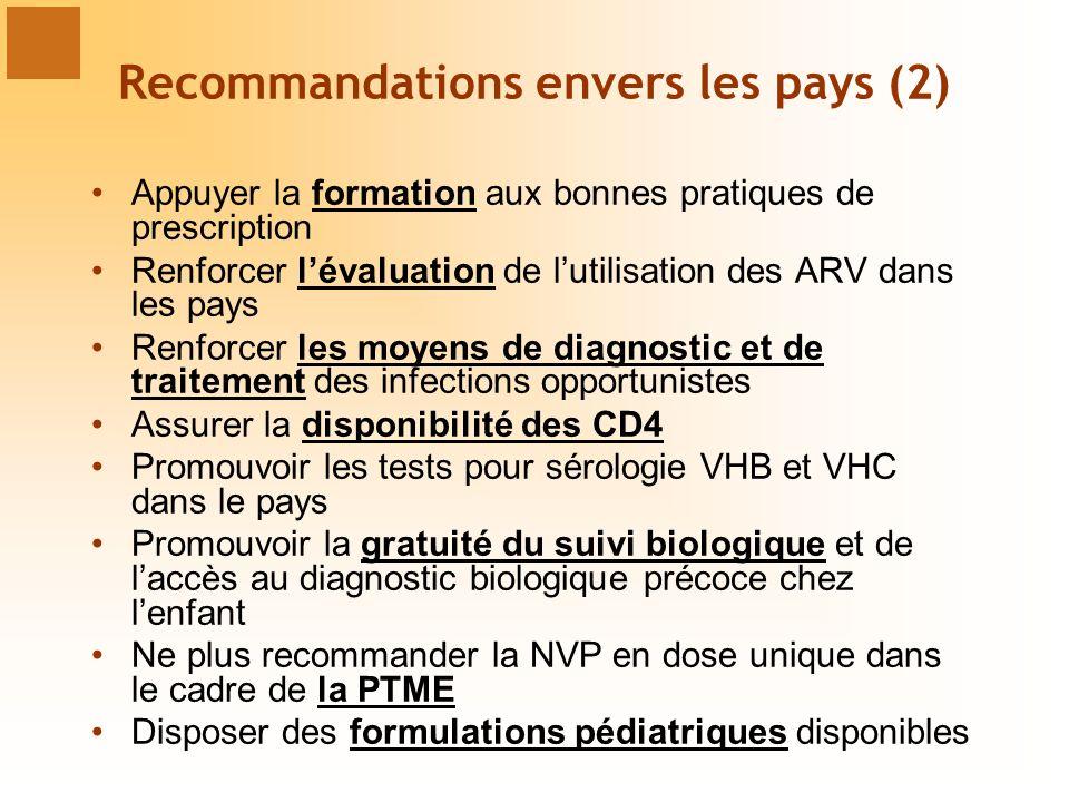 Recommandations envers les pays (2)