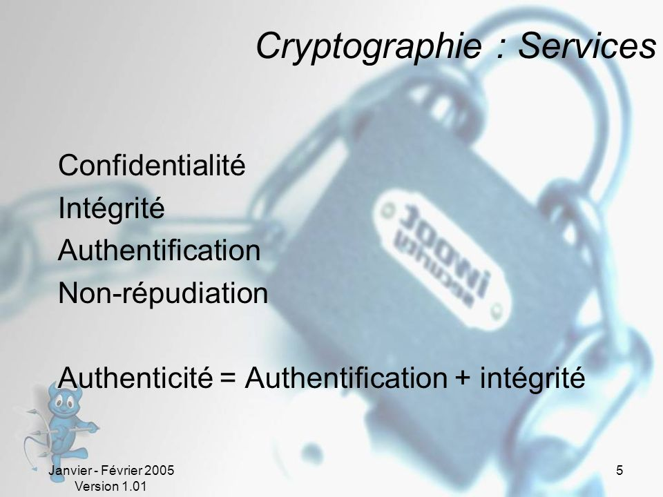 Cryptographie : Services