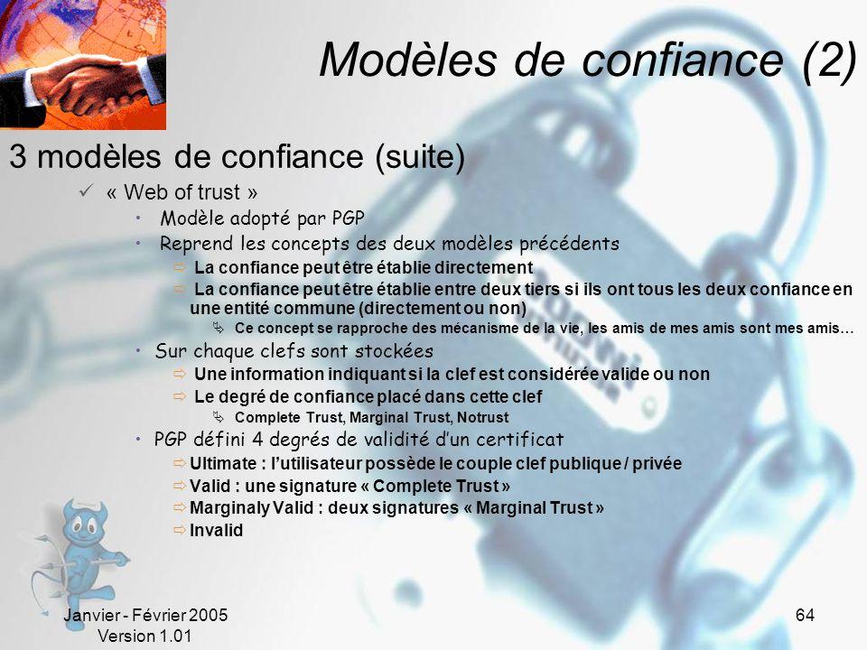 Modèles de confiance (2)