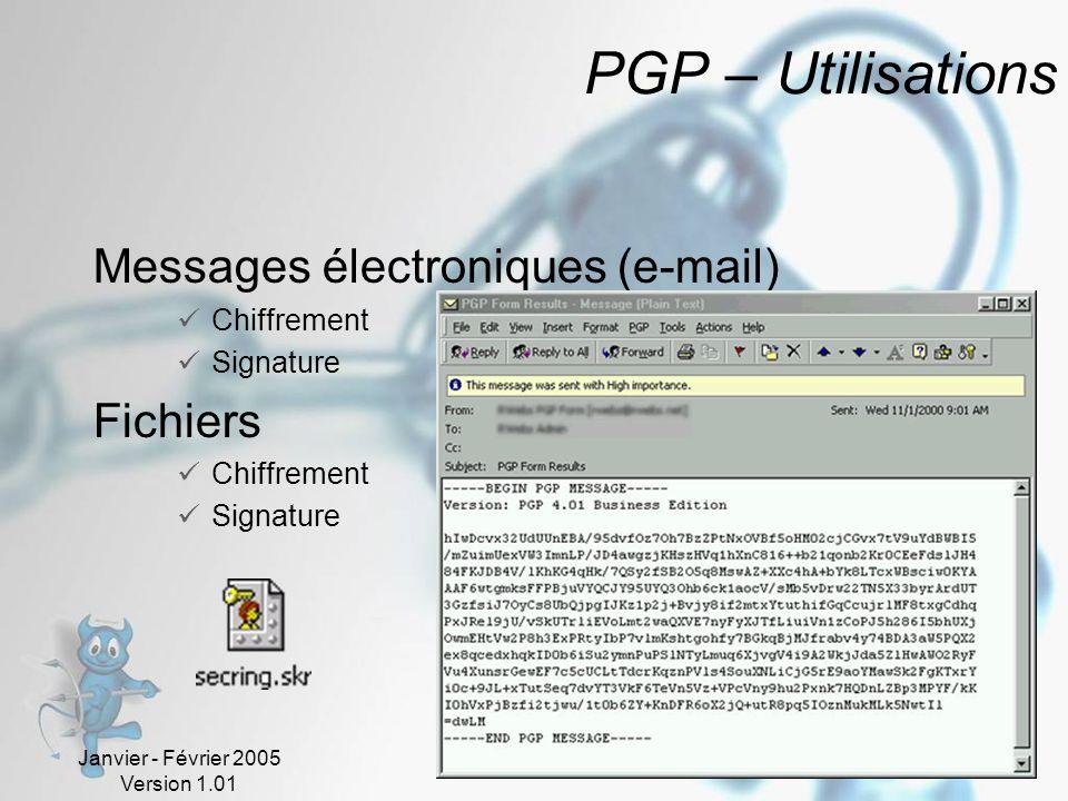 PGP – Utilisations Messages électroniques (e-mail) Fichiers