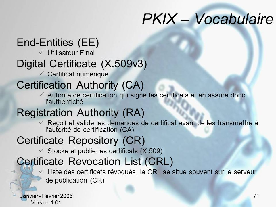 PKIX – Vocabulaire End-Entities (EE) Digital Certificate (X.509v3)
