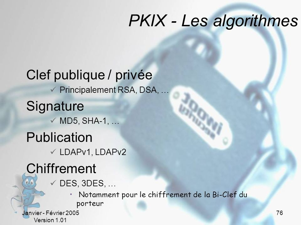 PKIX - Les algorithmes Clef publique / privée Signature Publication