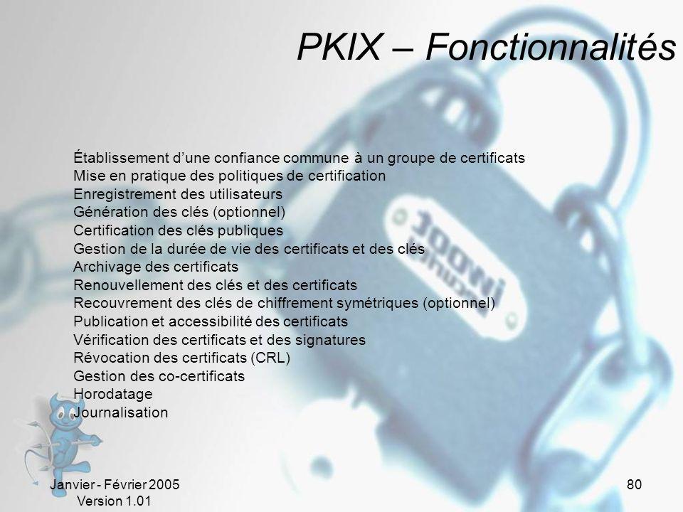 PKIX – Fonctionnalités