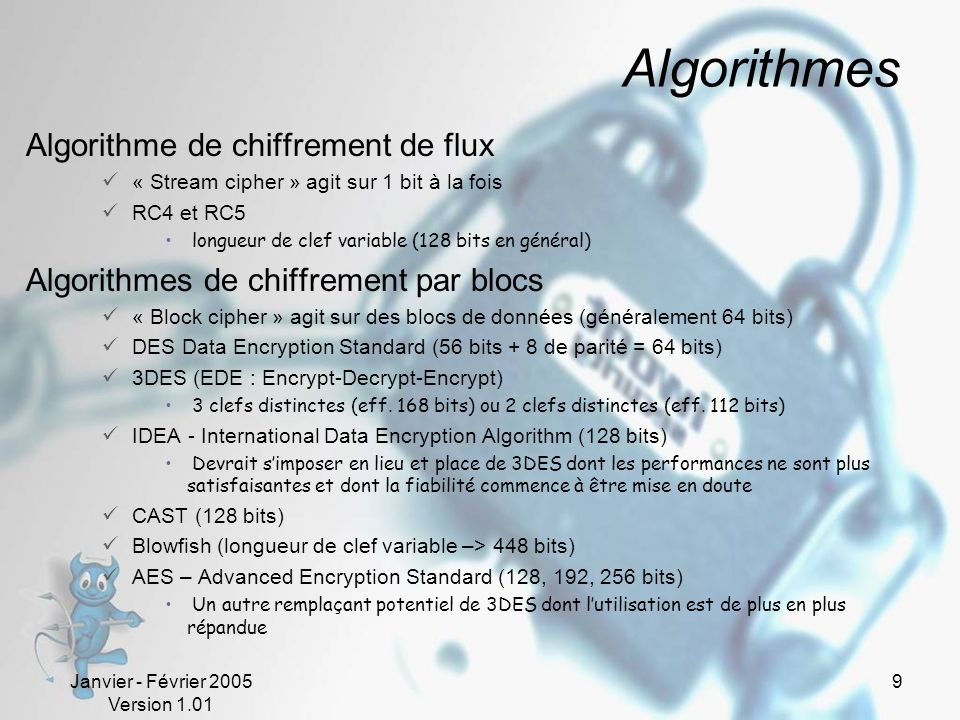 Algorithmes Algorithme de chiffrement de flux
