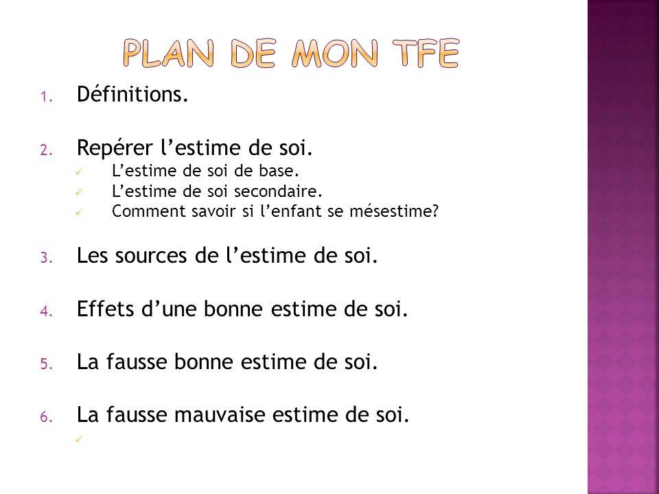 Plan de mon TFE Définitions. Repérer l'estime de soi.