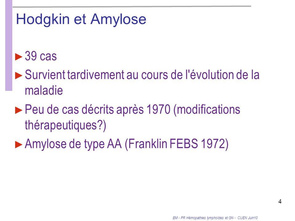 Hodgkin et Amylose 39 cas. Survient tardivement au cours de l évolution de la maladie.