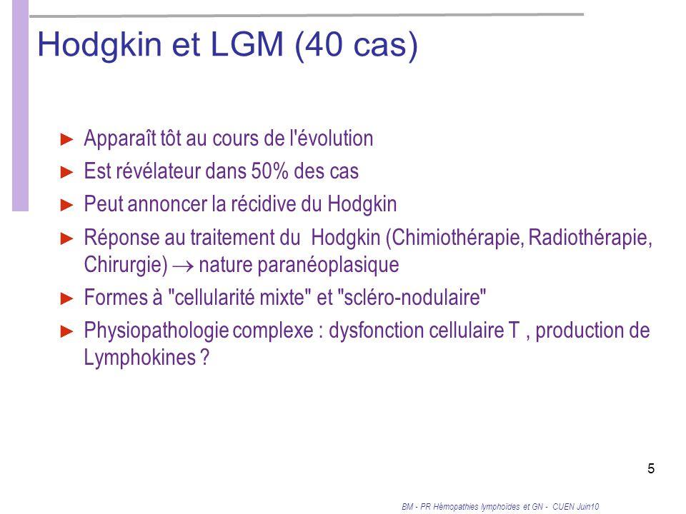 Hodgkin et LGM (40 cas) Apparaît tôt au cours de l évolution