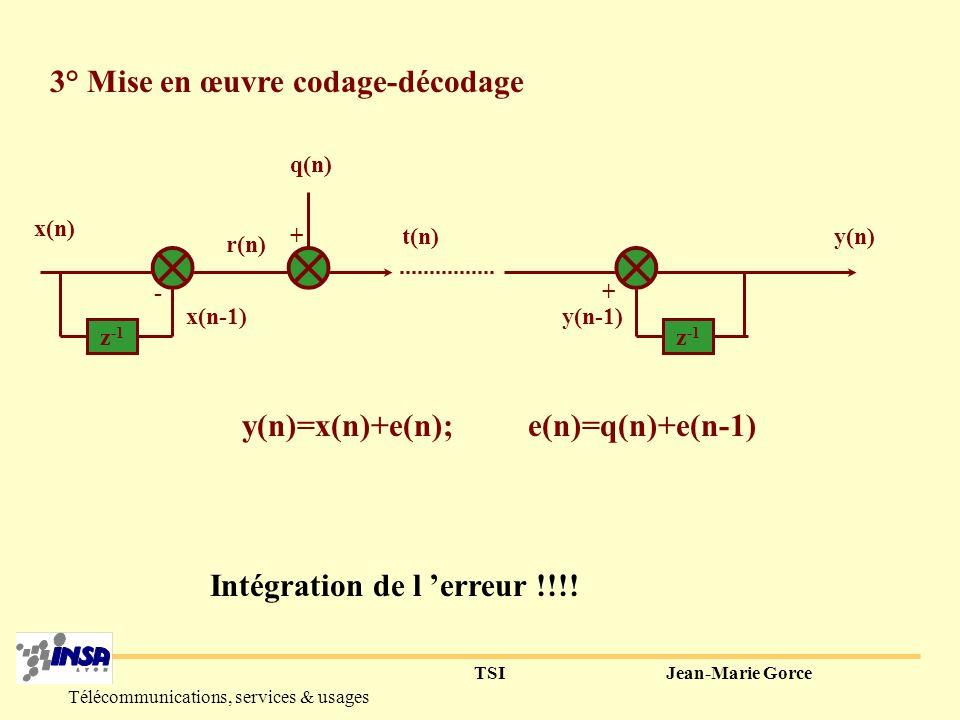 y(n)=x(n)+e(n); e(n)=q(n)+e(n-1) Intégration de l 'erreur !!!!