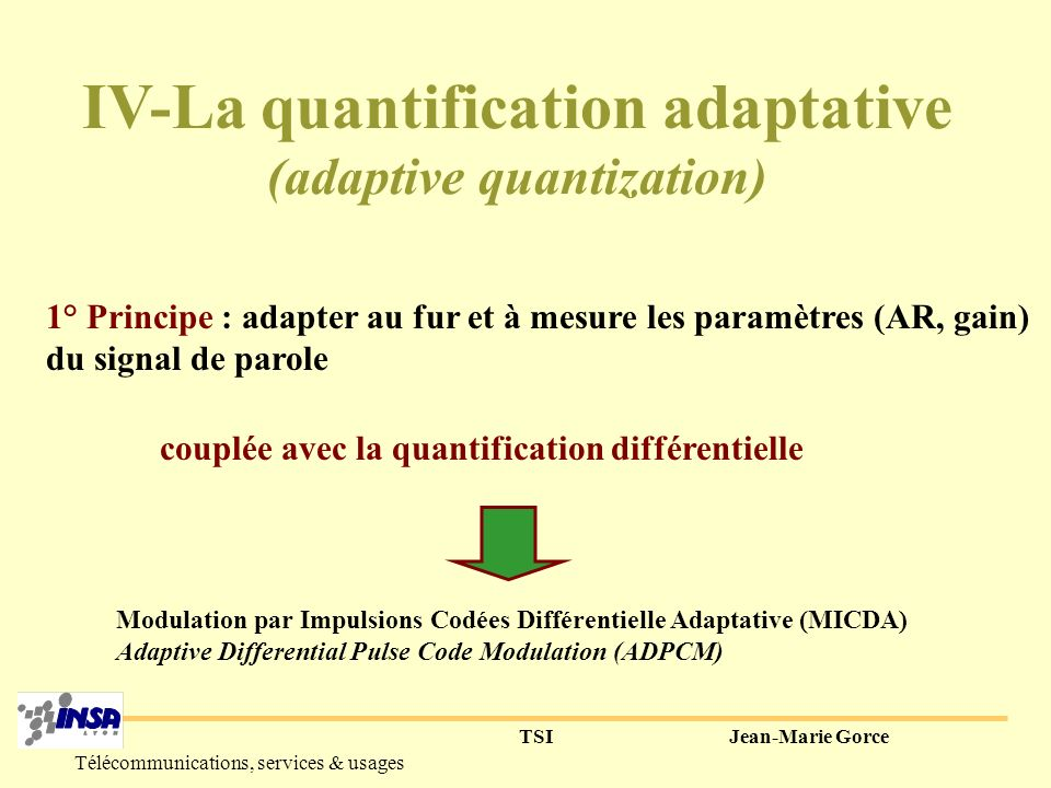 IV-La quantification adaptative (adaptive quantization)