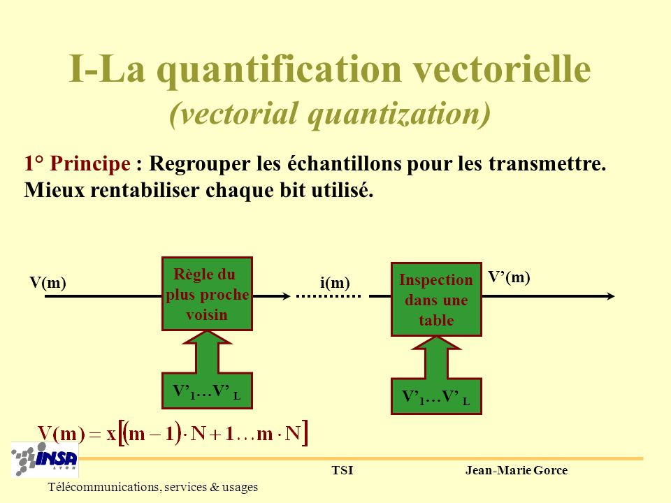 I-La quantification vectorielle (vectorial quantization)