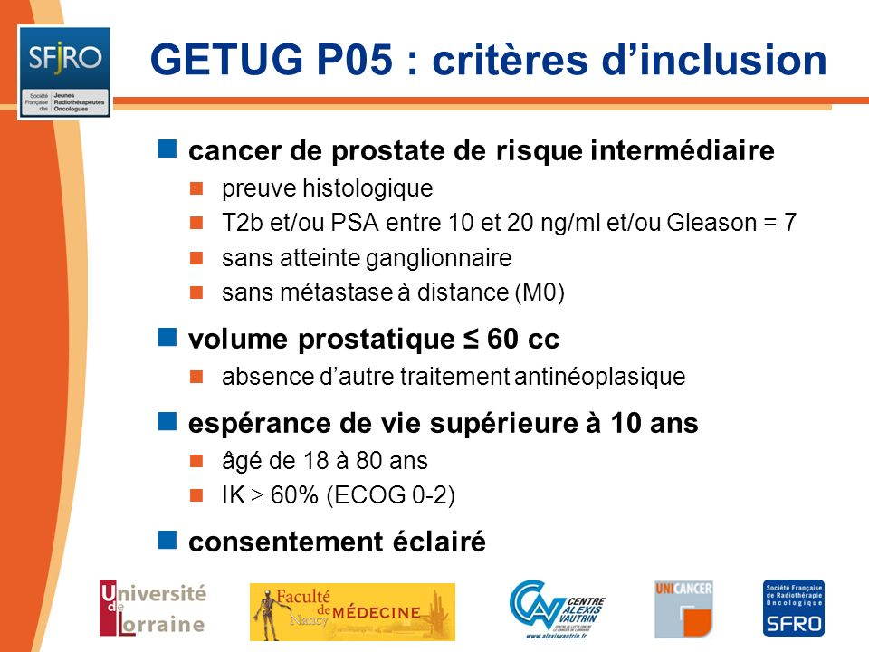 GETUG P05 : critères d'inclusion