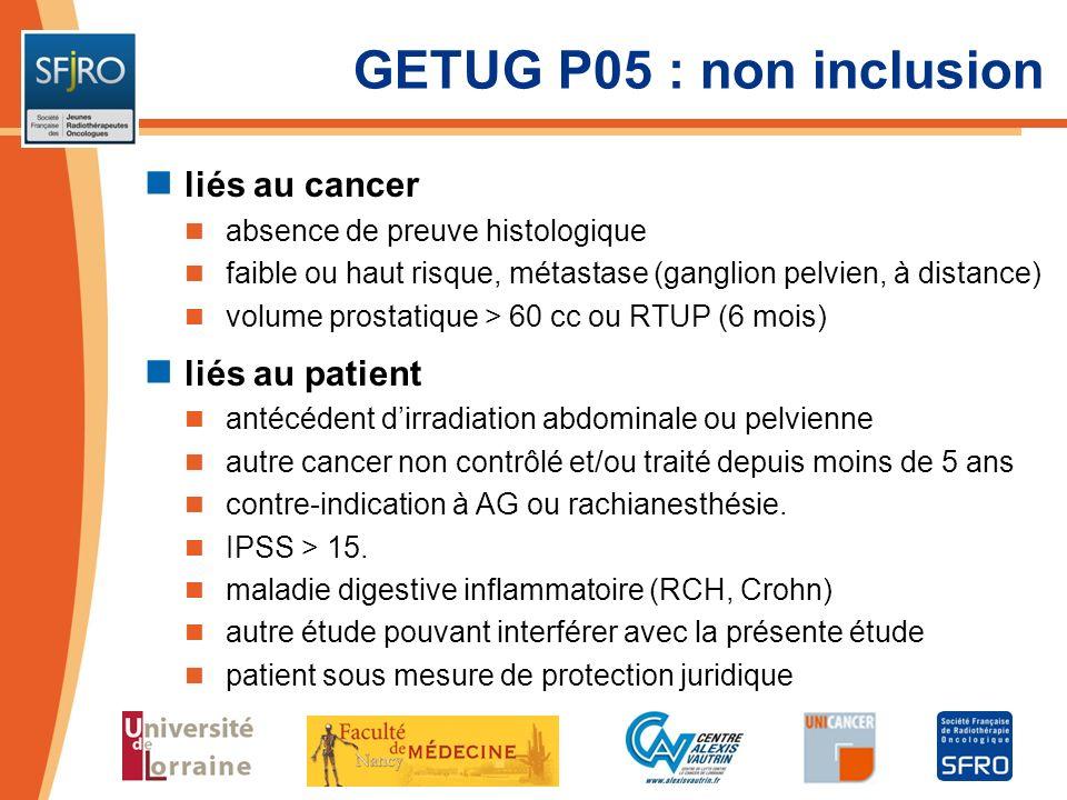 GETUG P05 : non inclusion liés au cancer liés au patient