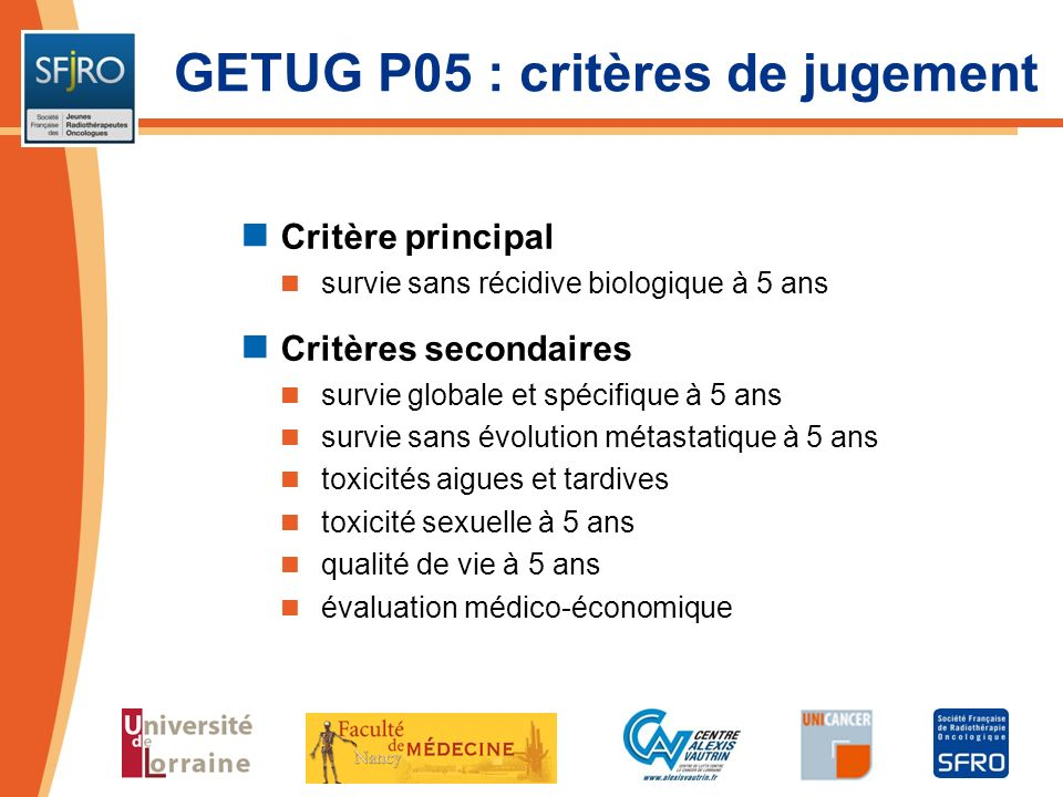 GETUG P05 : critères de jugement