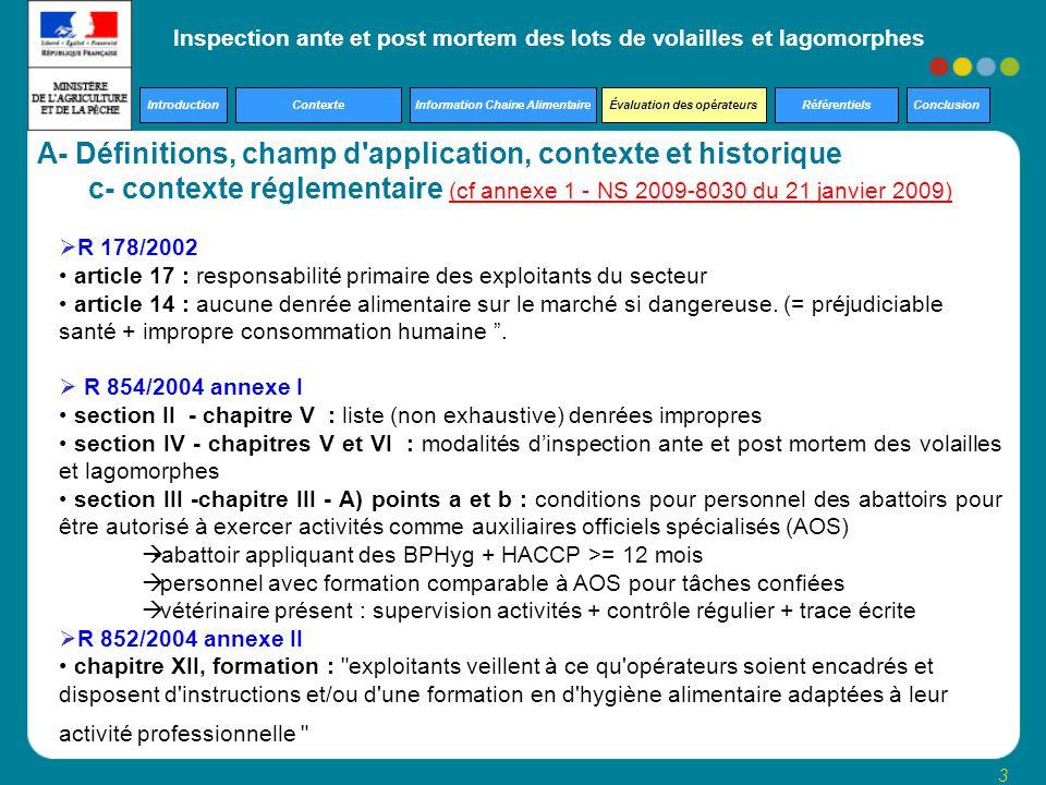 A- Définitions, champ d application, contexte et historique
