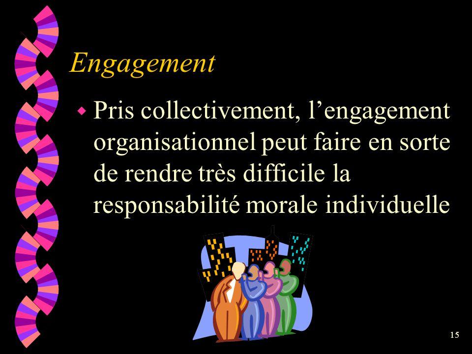 Engagement Pris collectivement, l'engagement organisationnel peut faire en sorte de rendre très difficile la responsabilité morale individuelle.