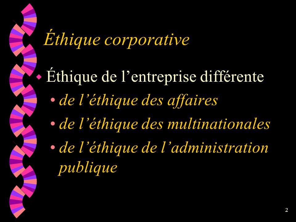 Éthique corporative Éthique de l'entreprise différente