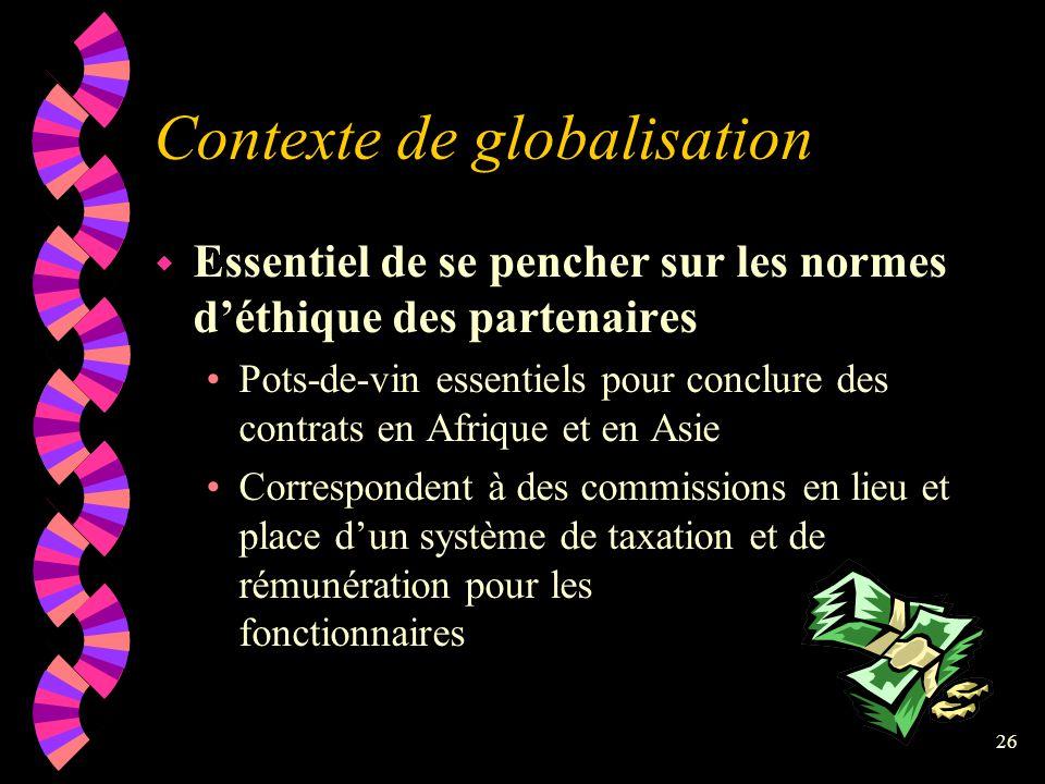 Contexte de globalisation