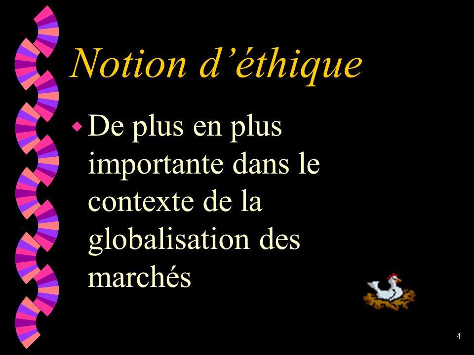 Notion d'éthique De plus en plus importante dans le contexte de la globalisation des marchés