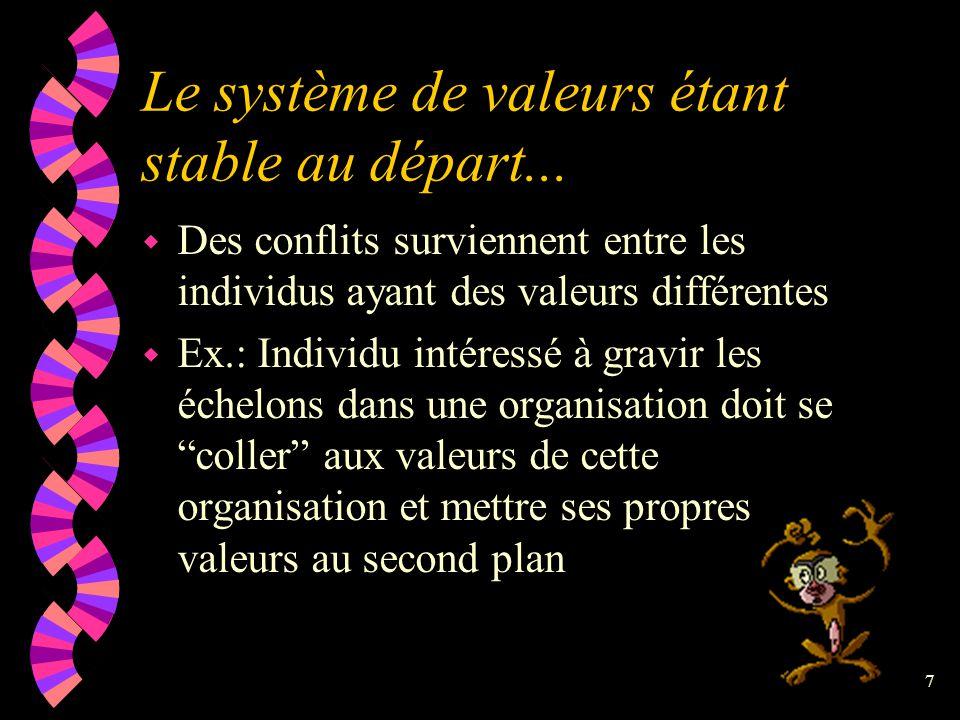 Le système de valeurs étant stable au départ...