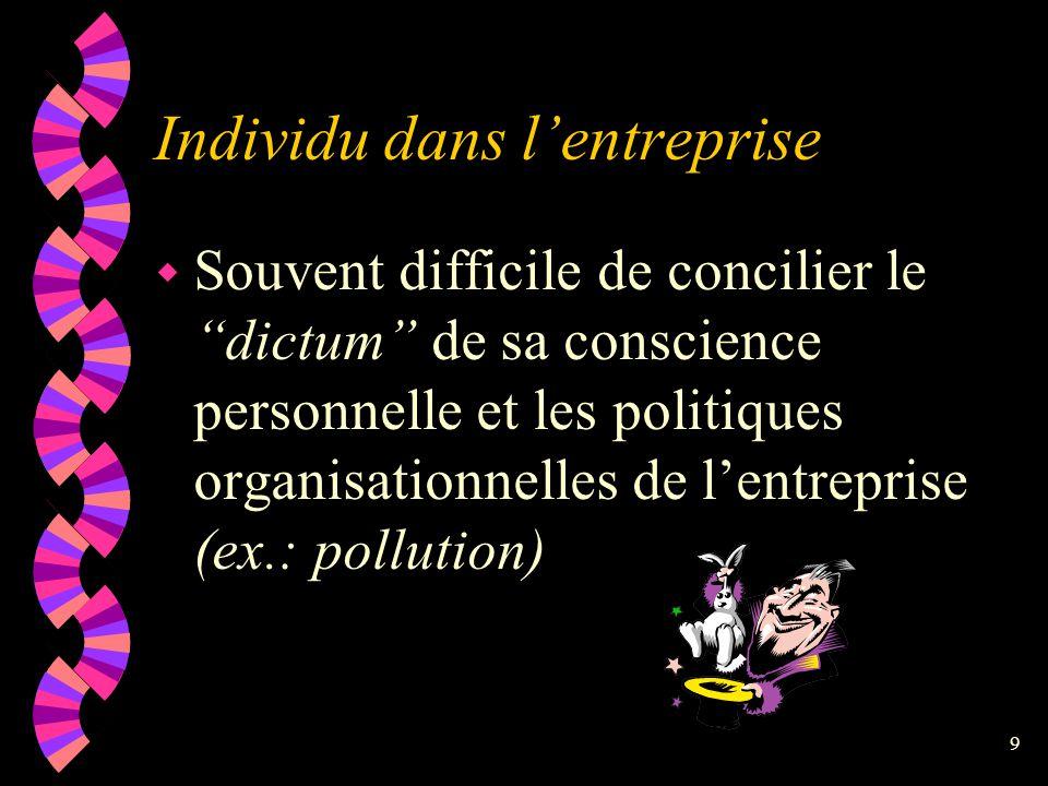 Individu dans l'entreprise