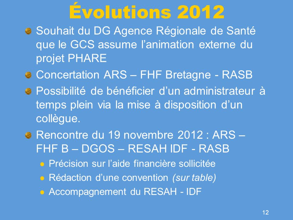 Évolutions 2012 Souhait du DG Agence Régionale de Santé que le GCS assume l'animation externe du projet PHARE.