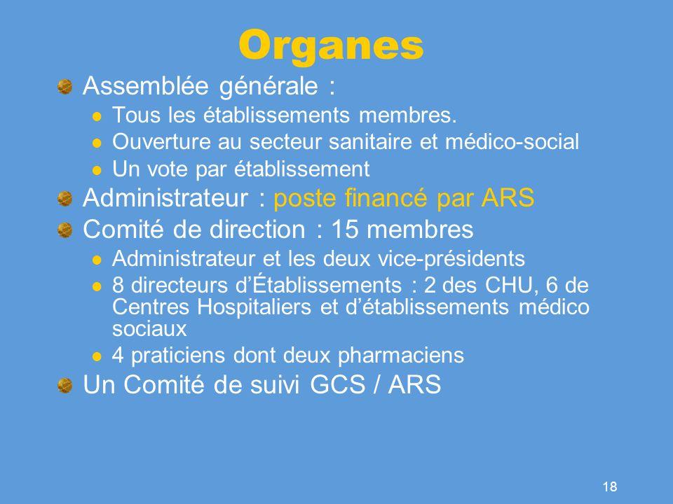 Organes Assemblée générale : Administrateur : poste financé par ARS