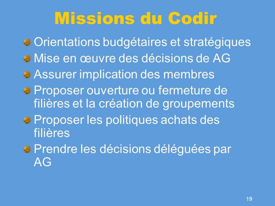 Missions du Codir Orientations budgétaires et stratégiques