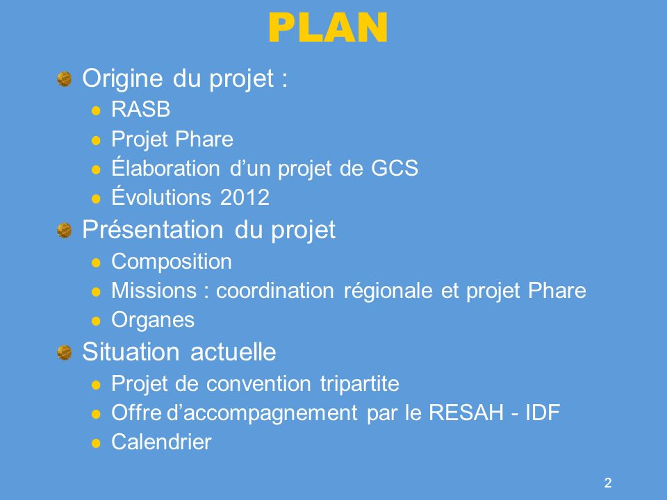 PLAN Origine du projet : Présentation du projet Situation actuelle