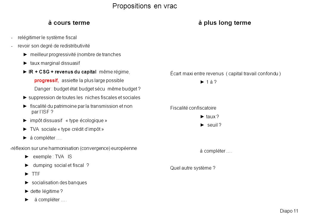 Propositions en vrac à cours terme à plus long terme