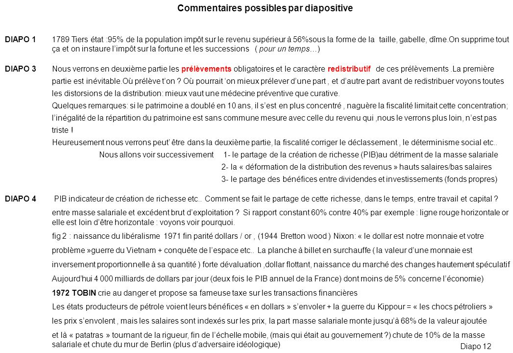 Commentaires possibles par diapositive