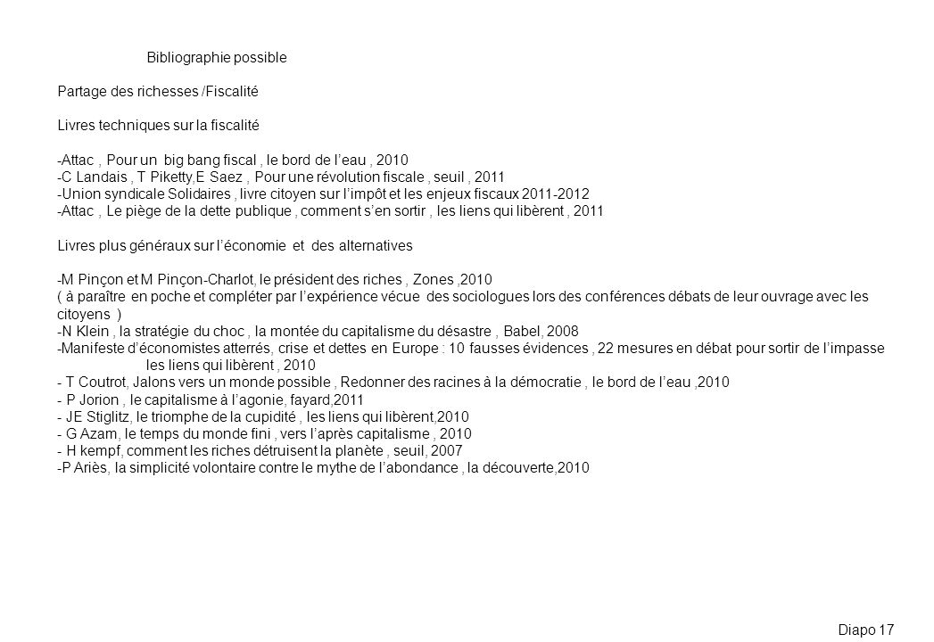 Bibliographie possible