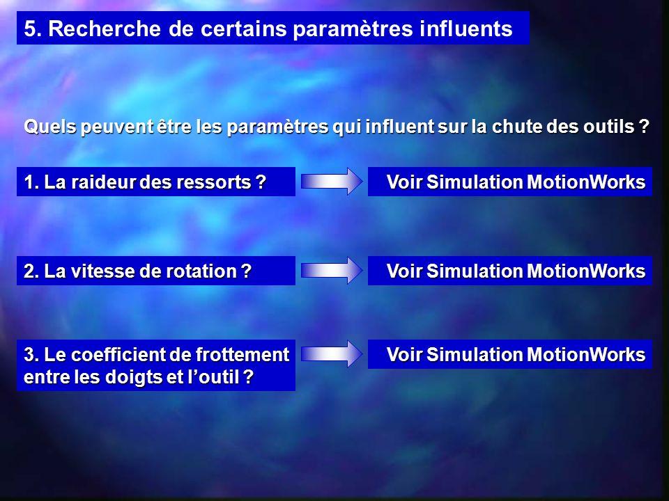 5. Recherche de certains paramètres influents