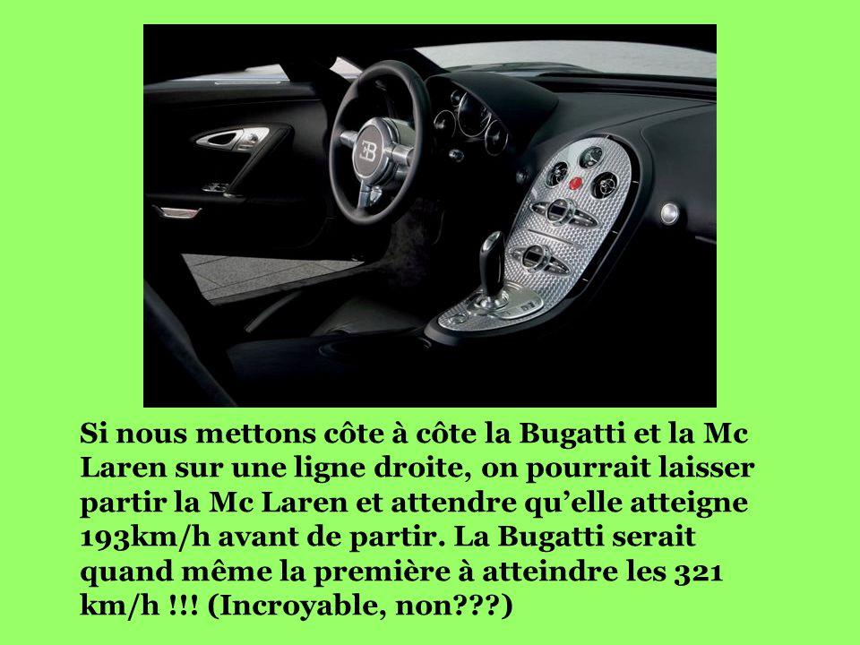 Si nous mettons côte à côte la Bugatti et la Mc Laren sur une ligne droite, on pourrait laisser partir la Mc Laren et attendre qu'elle atteigne 193km/h avant de partir.