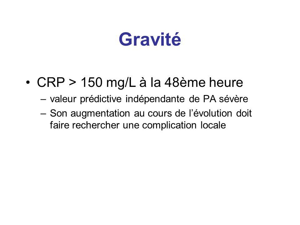 Gravité CRP > 150 mg/L à la 48ème heure