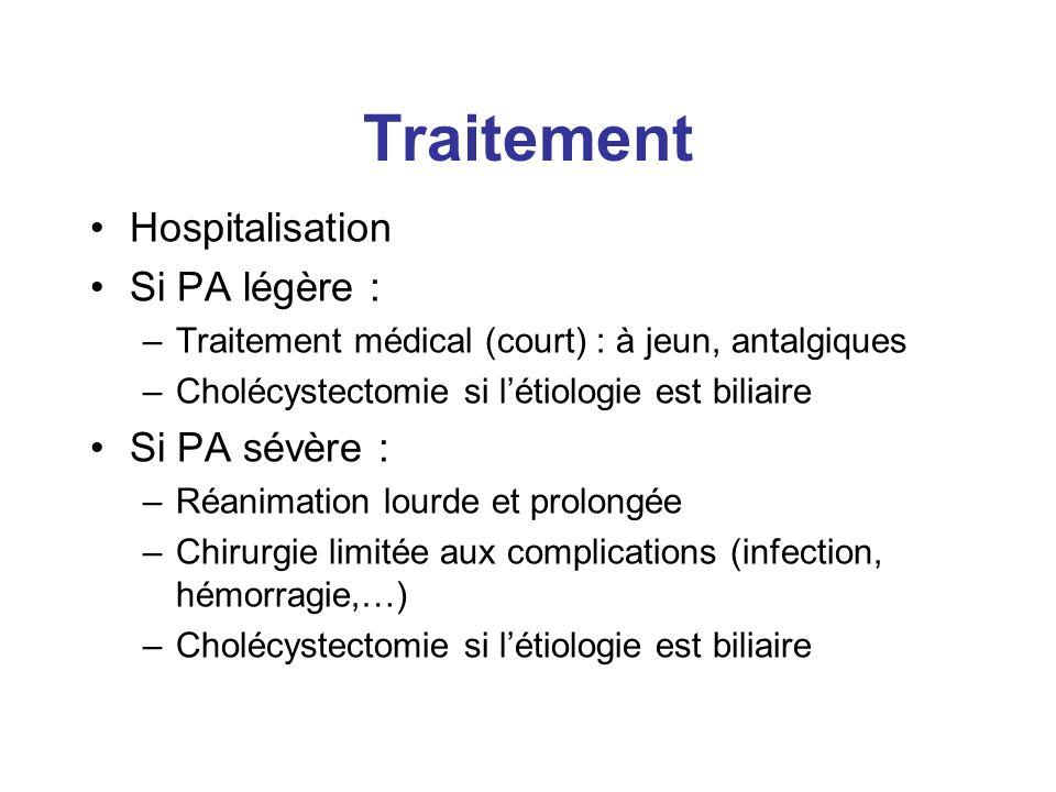 Traitement Hospitalisation Si PA légère : Si PA sévère :