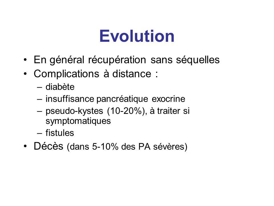 Evolution En général récupération sans séquelles