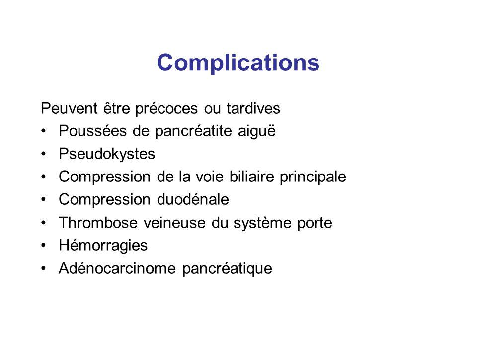 Complications Peuvent être précoces ou tardives
