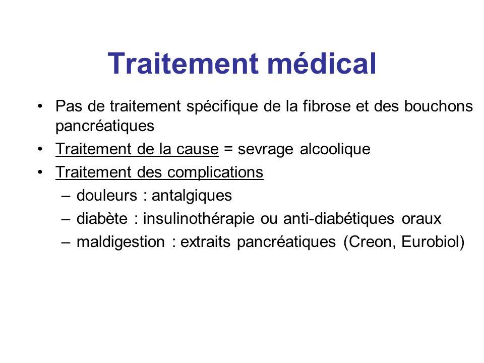 Traitement médical Pas de traitement spécifique de la fibrose et des bouchons pancréatiques. Traitement de la cause = sevrage alcoolique.