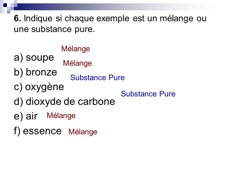 6. Indique si chaque exemple est un mélange ou une substance pure.
