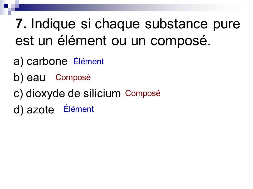 7. Indique si chaque substance pure est un élément ou un composé.