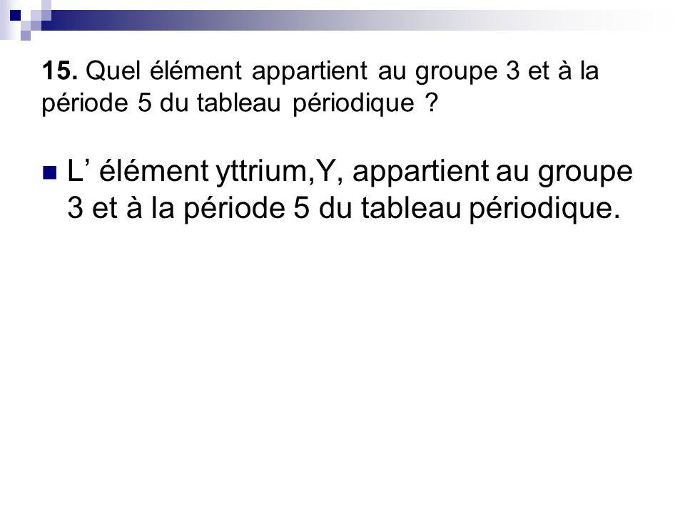 15. Quel élément appartient au groupe 3 et à la période 5 du tableau périodique