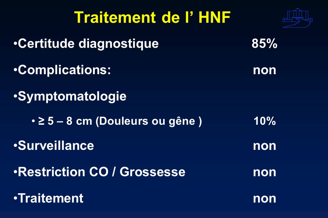 Traitement de l' HNF Certitude diagnostique 85% Complications: non