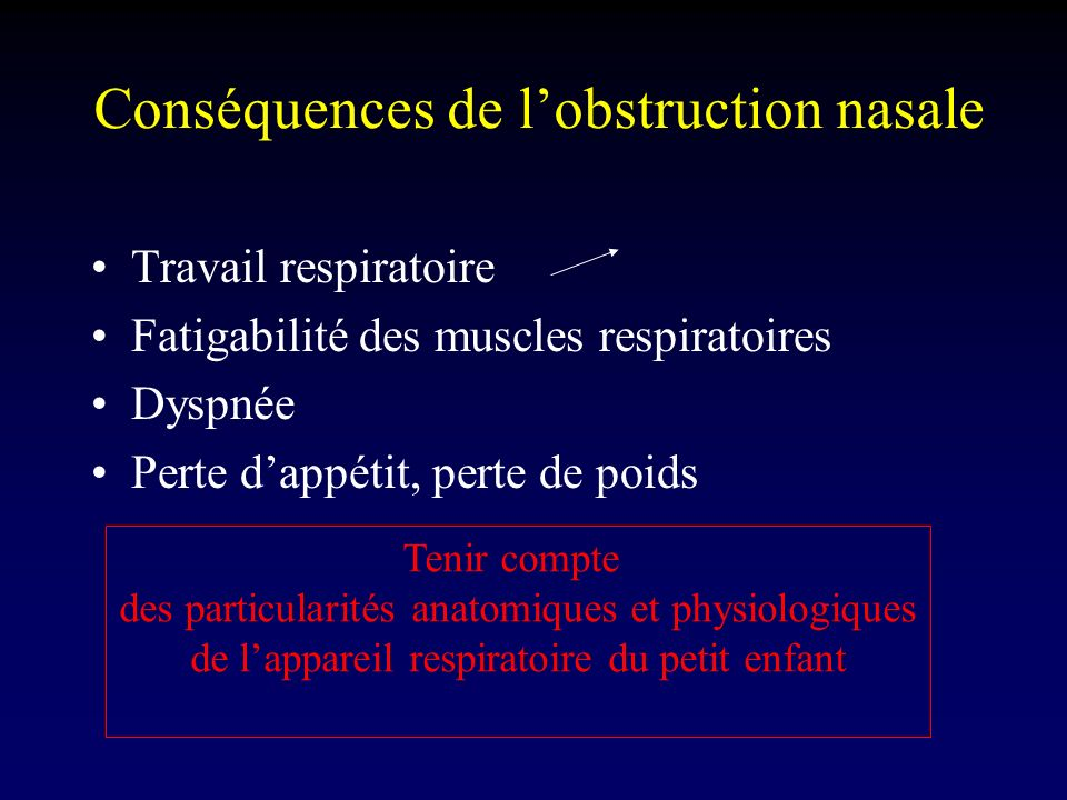 Conséquences de l'obstruction nasale